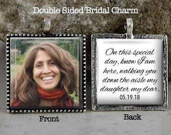 Bridal Bouquet Charm, Memorial Photo Charm, Double Sided, Custom Photo, Wedding Keepsake