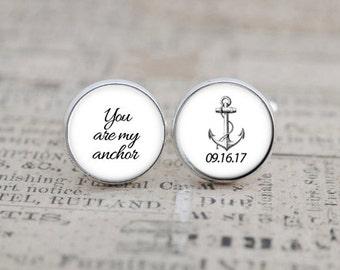 Nautical Cufflinks, Wedding Cuff Links, Wedding Cufflinks, Anchor Cufflinks, Wedding Keepsake, Gift for the Groom