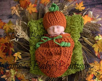 d11ca1c03a7 Crochet Newborn Baby Boy or Girl Mommy s Lil  Pumpkin Hat   Swaddle Sack Set
