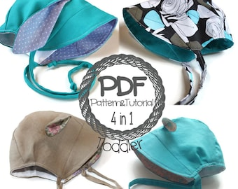 Brimmed Toddler Bonnet Sewing Pattern // 5 hats in 1 pattern // Bunny / Lamb / Hippo / Reversible Bonnet // Brimless Bonnet // Modern Bonnet