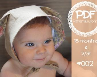 Toddler Bonnet Sewing Pattern // Reversible Baby Bonnet // Baby Summer Hat // Lamb // Kangaroo // Sun Bonnet // Baby Bonnet Sewing Pattern