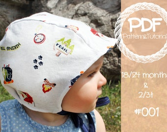 Toddler Brimless Bonnet Sewing Pattern // Baby Bonnet Sewing Pattern // Baby Bonnet Pattern // Ears // Hearing Aid Hat Pattern // Pilot Cap