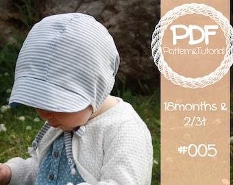 Short Brimmed Toddler Bonnet // Reversible Baby Bonnet Sewing Pattern // Sewing Pattern // Sun Bonnet // Boy Bonnet // 18 months // 2t