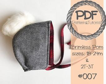 Brimless Toddler Bonnet Sewing Pattern // Reversible // Pom Pom Bonnet // Winter Bonnet // Toddler Sewing Pattern // Easy Sewing Pattern
