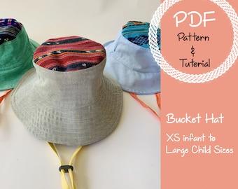 Baby & Toddler Bucket Hat Sewing Pattern // Reversible // Sun Hat // Bucket Hat Pattern //Trendy Kid Crafts // Quick Sewing Pattern