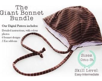 Giant Baby Bonnet Sewing Pattern Bundle