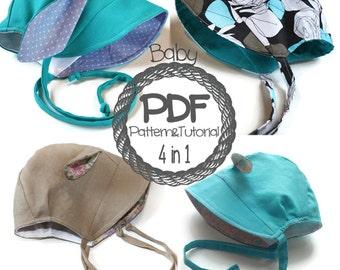 Brimmed Baby Bonnet Sewing Pattern // 5 hats in 1 pattern // Brimless Bonnet // Bunny // Lamb // Hippo // Reversible Bonnet // Modern Bonnet