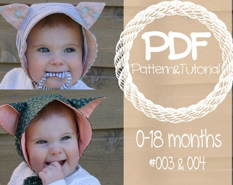 Bonnet Sewing Pattern Combo Pack // Kitty Cat Hat Pattern // Fox Baby Bonnet Pattern // Brimmed Sun Bonnet // 0-18 month sizes