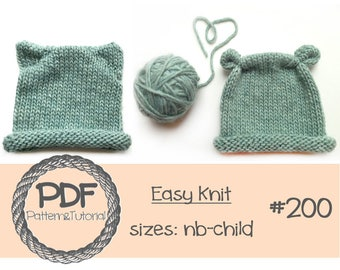 Kitty Hat Knitting Pattern // Bear Hat Knitting Pattern // Baby Hat Knitting Pattern // Easy Knitting Pattern / Bear Ear Hat / Kitty Ear Hat