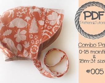 Short Brimmed Baby Bonnet Sewing Pattern // Boy Sun Bonnet // Reversible Baby Bonnet // Baby Sun Bonnet // Sewing Pattern // Baby Hat