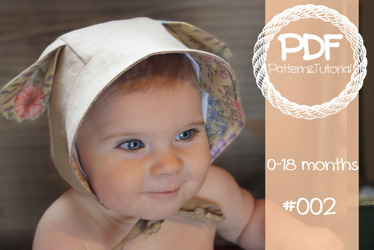 Brimmed Bonnet Sewing Pattern    Reversible Baby Bonnet     8ae8fb48051