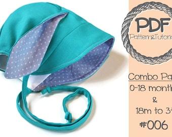 Bunny Bonnet Sewing Pattern // Easter Bonnet // Baby Sun Hat // Bunny Ear Bonnet // Brimmed Sun Bonnet // Baby Bonnet Pattern