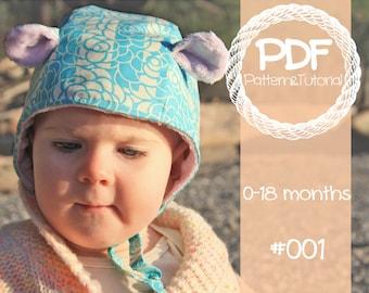Brimless Baby Bonnet Sewing Pattern // Vintage Inspired Bonnet // Ear Add-on // Reversible Bonnet // Sun Bonnet // Hearing Aid Hat