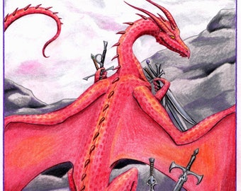 RED DRAGON DRAWING, 11 by 14 Inch Matted Original Colored Pencil Drawing, Fantasy Art, Dragons, Sword Hoard, Tarot, Seven of Swords Wall Art