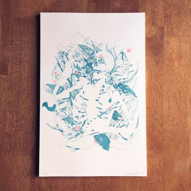 Whitewashed Tombs risograph 11x17 poster print image 0