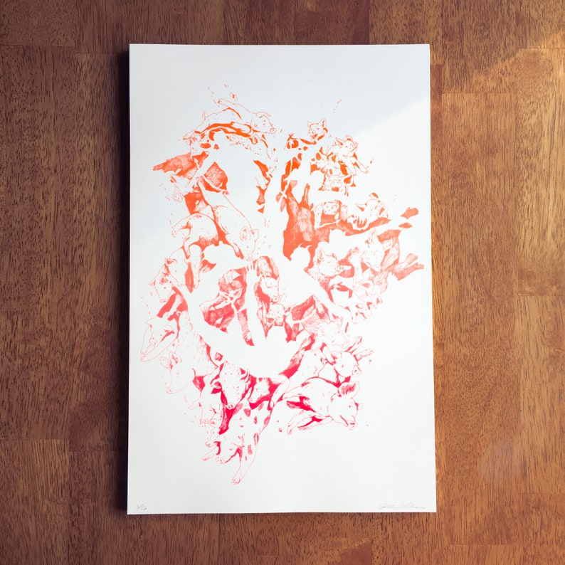 Pigs risograph 11x17 poster print image 0