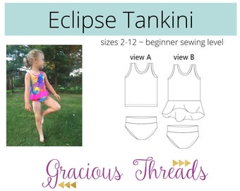 97e25c5638df7 Eclipse Tankini PDF Sewing Pattern 2T-12. sewgraciousthreads. 5 out of ...