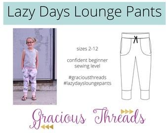 Lazy Days Lounge Pants pdf sewing pattern 2T-12