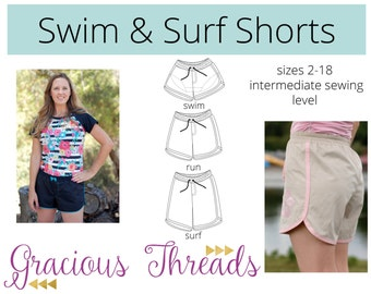 Women's Swim and Surf Shorts PDF Pattern 2-18
