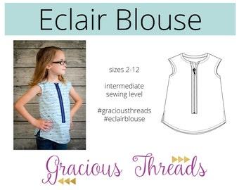 Eclair Blouse pdf sewing pattern 2T-12