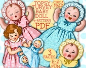 E-Z Topsy Turvey Baby Doll 15 8 quot - Vintage ePattern Upsidedown Doll Sleep Sad Cry Happy Laugh Gown Bonnet pattern 1940 39 s PDF