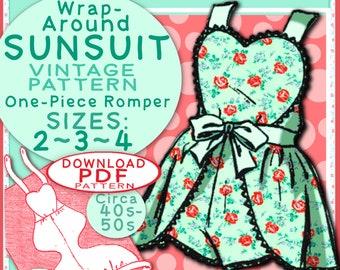 SUN SUIT Pattern 3 sizes So Sweet Wraparound One-Piece Romper Child Girl Toddler Vintage 1940 / 1950 Sunsuit baby e-pattern pdf