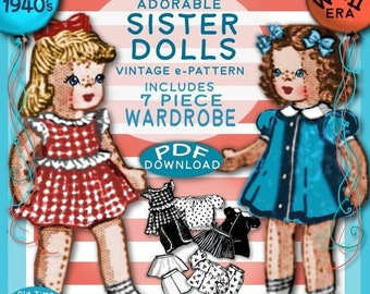 "Wardrobe ~ a Vintage Pattern Adorable 9/"" Cloth Doll"
