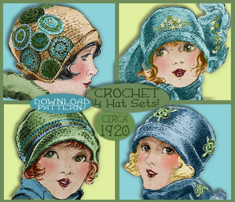 23994a20d23 Crochet 20 s CLOCHE Hat 4 SWEET 1920s Hats and Scarf