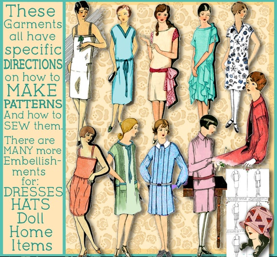1920s Patterns – Vintage, Reproduction Sewing Patterns 1929 Dress Patterns - Sew 1920s Frocks - Easy - More Pdf e-Booklet - Easy ways to Pretty Frocks Downton Abbey frock dra $4.24 AT vintagedancer.com