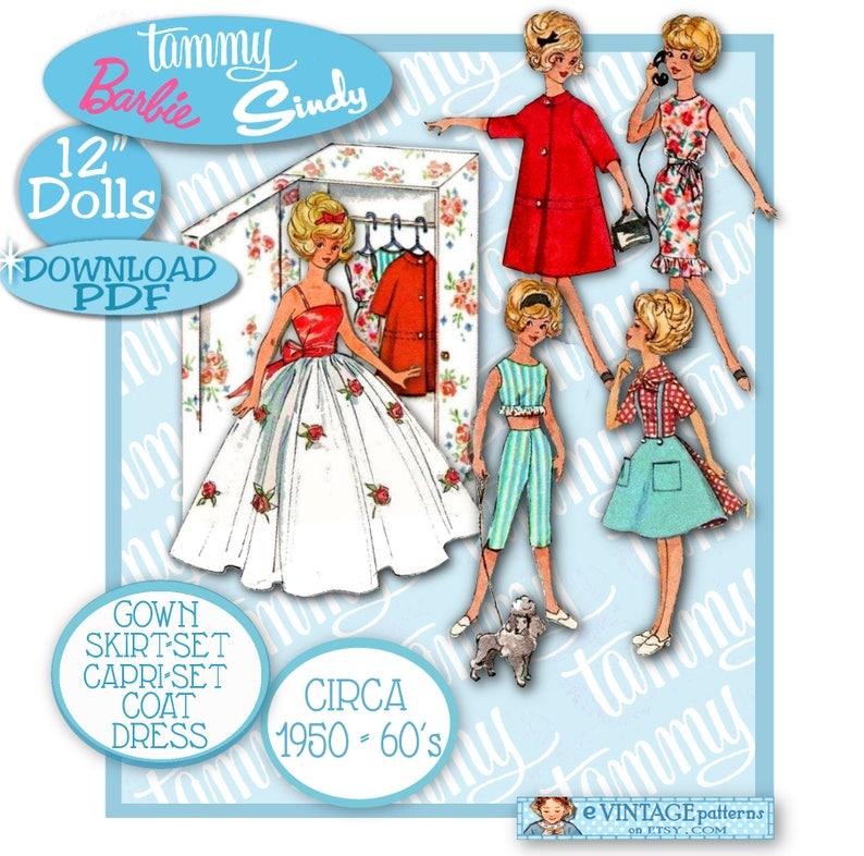Vintage Doll Clothes Dress Coat Pattern ~ Barbie Tammy