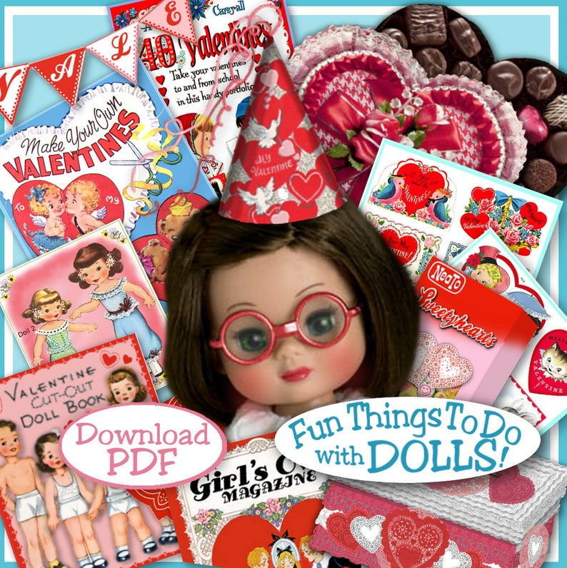 Doll-sized VALENTINES PDF for 7 to 9 inch Dolls Vintage Fun Stuff to make  Ann Estelle Betsy McCall Riley Ginny Valentine Craft Print Out