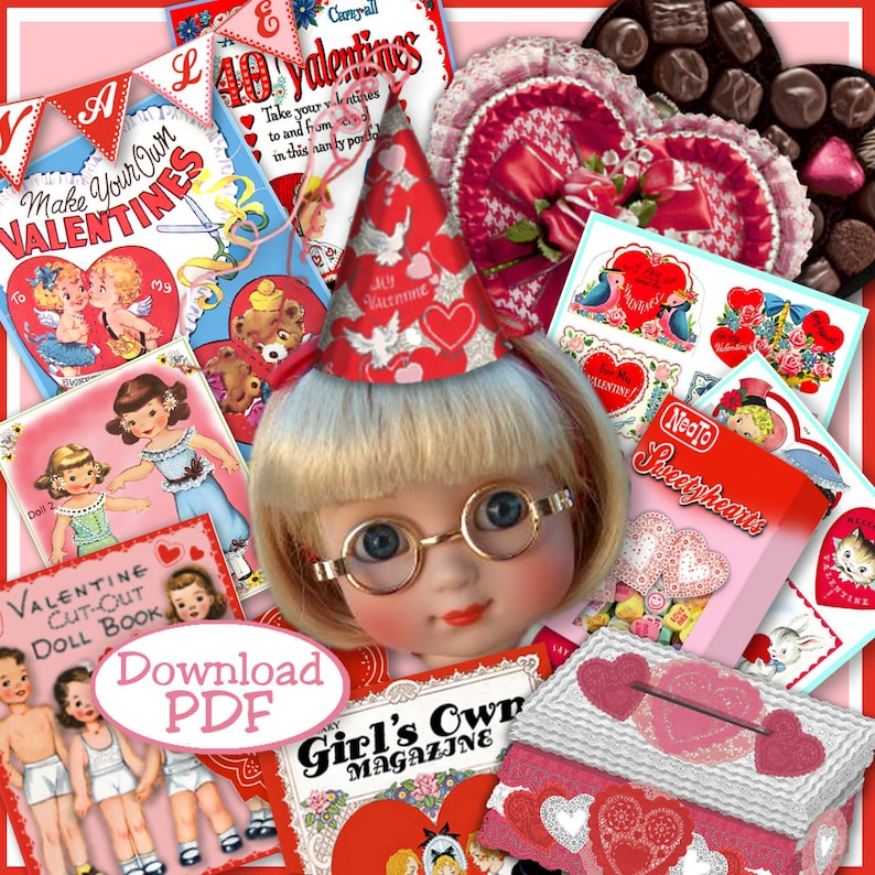 Doll-size VAlentine Fun 10 to 13 inch Dolls 28 pages Vintage Fun Stuff to  make Ann Estelle Patsy Effner Little Darlings Craft Print Out PDF