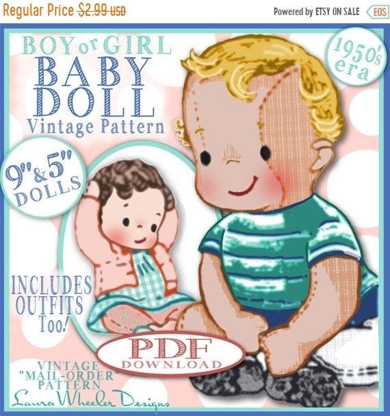 d0ebd9cd8a8332 Verkauf BOY Baby Puppe Vintage Muster 1950er Versandhandel