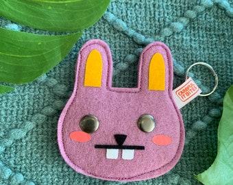 Bunny keychain or zipper pull. Wool felt rabbit: lilac & yellow