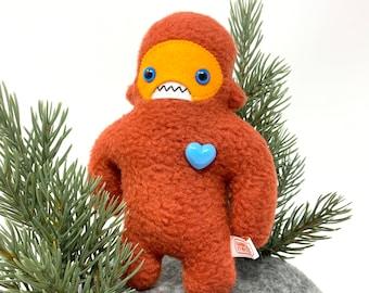 Travel adventure monster friend! Mini sasquatch plush - orange & tangerine