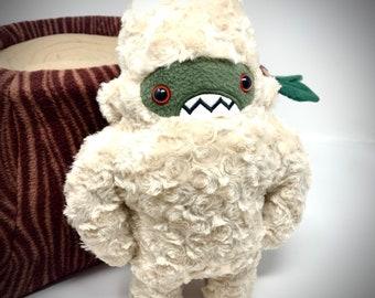Woolly Sasquatch Handmade Plush...Monster stuffed animal... cream & sage