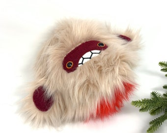 Severed pygmy yeti head plush.....Handmade monster stuffed animal....pinkish/beige & maroon