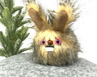 Plush Dust Bunny.... Rabbit stuffed animal handmade in Seattle... feathery tan faux fur