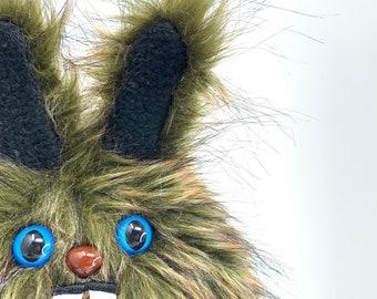 Plush Dust Bunny.... Rabbit stuffed animal handmade in Seattle... olive heathered faux fur