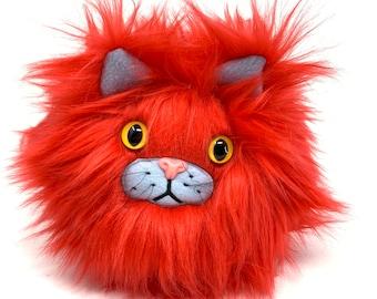 Plush catball -- furry cat handmade stuffed animal -- red faux fur