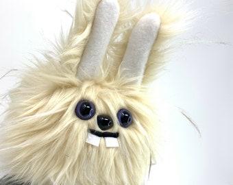 Plush Dust Bunny.... Rabbit stuffed animal handmade in Seattle... wispy cream colored faux fur