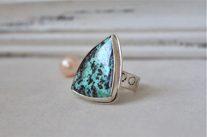 READY TO SHIP Size 8.5 jewelry cabochon gemstone 925 Sterling silver and Chrysocolla-Shattuckite Ooak Ring