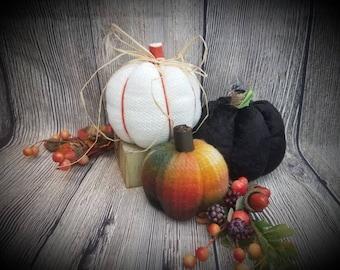 Fabric Pumpkins / Set of 3 / Pumpkin Decor / Fall Decor / Autumn Decor / Velvet Pumpkins / Halloween Decor / Fall Decorations