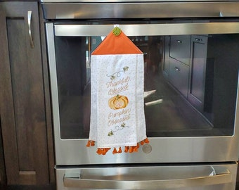 Fall Kitchen Towel, Fall Kitchen Decor, Hanging Kitchen Towel, Hanging Bathroom Towel, Kitchen Hand Towel, Bathroom Hand Towel,