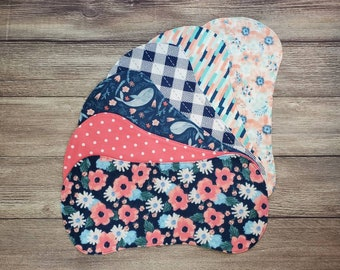 Burp Cloths Girl, Baby Girl Shower Gift, Flower Burp Cloths, Set of 6, Burp Rags, Blue and Pink Nursery, Flower Nursery, Baby Girl Gift