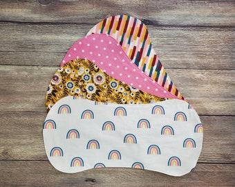 Rainbow Burp Cloth Set, Boho Rainbow, Baby Girl Shower Gift, Burp Cloth Set, Burp Rags, Baby Burp Cloths, Baby Sprinkle Gift, Baby Feeding