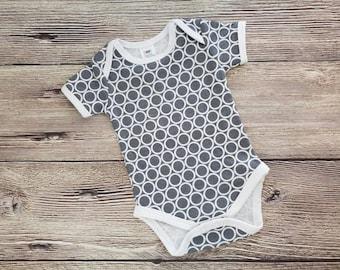 Gray Onesie®, White Circle Onesie®, Geometric Baby Bodysuit, Short Sleeve Onesie®, Newborn Gift, Baby Shower Gift, Gender Neutral Baby Gift