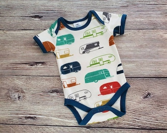 Baby Camping Outfit, Camping Onesie®,  Happy Camper, Baby Bodysuit, Retro Campers, Baby Camping, Short Sleeve Onesie®, Newborn Gift