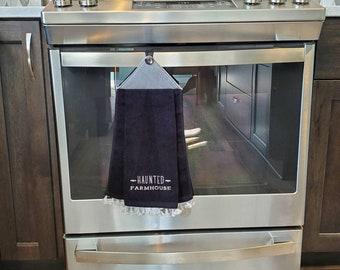 Halloween Kitchen Towel, Haunted Farmhouse Towel, Hanging Kitchen Towel, Hanging Bathroom Towel, Kitchen Hand Towel, Bathroom Hand Towel