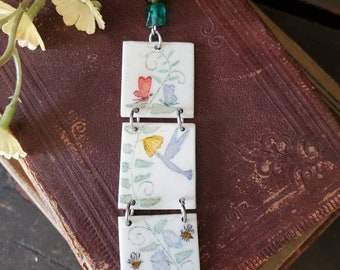 Scrimshaw Necklace Intricate 3 Panel Bird Bees and Vine OOAK Great Gift Idea